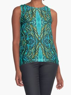"""""""Underwater secrets"""" Contrast Tanks by tuile   Redbubble  Pen drawing vecotirsed and digitally coloured  underwater secrets myth mermaid merpeople blue baroque vector ornate flourish music violin orchestra"""