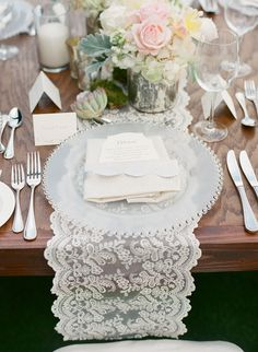 #Lace #PlaceSetting | Melissa Schollaert Photography | #VictoriaCanadaWeddings | See the wedding on SMP -- http://www.StyleMePretty.com/2013/11/19/scottsdale-wedding-from-melissa-schollaert-victoria-canada-weddings-events/