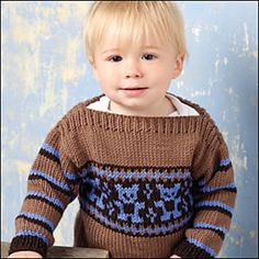 The adorable bear design on this classic quick-to-knit baby sweater features a simple chart for the new stranded colorwork knitter.