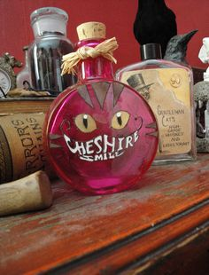 Cheshire Smile cat Halloween Academy Apothecary Bottle Original. Decor item. Alice in Wonderland fans.