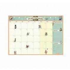 """Mega planificador mensual, para usar en el escritorio o en la pared. 12 hojas a todo color con los personajes de la tira """"Macanudo"""" de Liniers. Pedilo aca: www.chichaylimonada.com/Escritorio/Calendarios/Planner"""