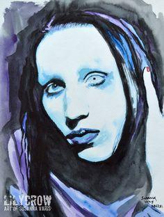 Blue II - Marilyn Manson by Susanna Varis water color 2008