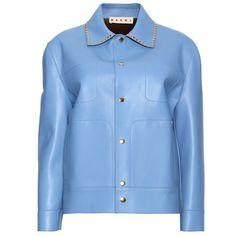mytheresa.com - Marni - LEATHER JACKET WITH STUDDED COLLAR - Luxury Fashion for Women / Designer clothing, shoes, bags