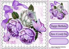 Pretty lilac white roses with bow butterflies 8x8 on Craftsuprint - Add To Basket!