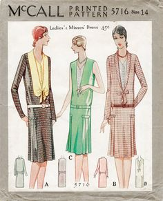 1920s 20s McCall 5716 repro vintage sewing pattern flapper day or evening dress drop waist bust 34 reproduction