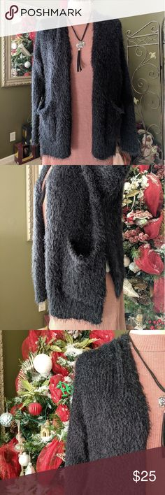 🛍️ Fuzzy Sweater 🛍️ Beautiful lightweight Sweater, pockets both lower side. VERY CLEAN as New, 1time use. Hollister Sweaters Cardigans