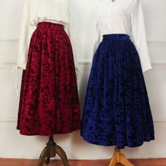 winter vintage long wine red velvet skirts woman ankle length elastic waist retro floral print high waist skirts blue plus size