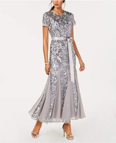 R & M Richards Petite Embellished Illusion Gown - Dresses - Petites - Macy's Mother Of Bride Outfits, Mother Of Groom Dresses, Mother Of The Bride, Bride Groom Dress, Mob Dresses, Short Sleeve Dresses, Wedding Dresses, Daytime Dresses, Gowns Online