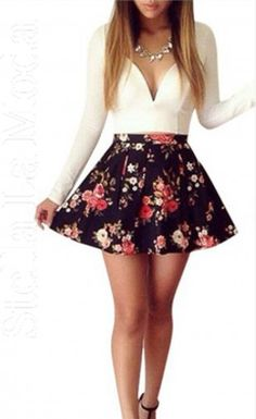 Floral and feminine, we present the most exquisite fashion adult dress for women worldwide. This is a cute skater dress with mellow V plunging neck, solid color fitted bodice with long sleeves atop the floral print flared skirt crafted in one piece. Dress up in this elegant skater dress to show out your elegance and sweetness!