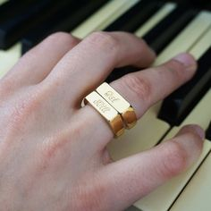 Engraved Ring Stamp ring Custom gold ring by NewHabitJewelry