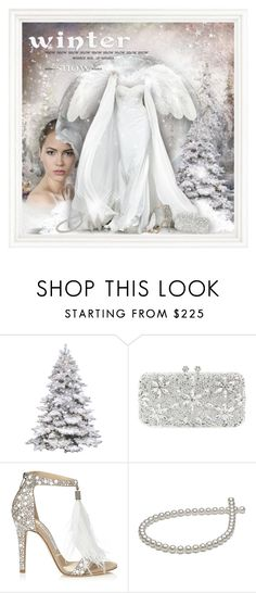 """Angelic Winter for Satinee"" by helenehrenhofer ❤ liked on Polyvore featuring Natasha Couture, Jimmy Choo and Sutra"