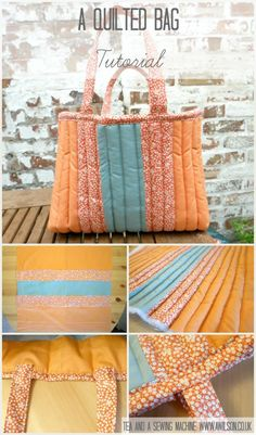How to make a gorgeously squishy quilted bag. It uses 3 fat quarters and it's easy to make! Without being enormous, it's big enough to hold all of your bits and pieces, even if you need to take a book or your knitting with you! Full step by step instructions with pictures. Tea and a Sewing Machine www.awilson.co.uk