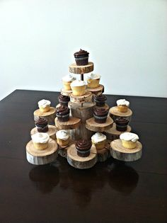 Rustic Wood and Copper Cup cake stand that hold 24 by CrossMyLove, $75.00