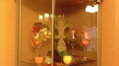 1st level of the tower   Dollar tree fall decor and odds and ends from wineries