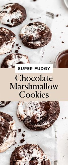 Jun 18, 2020 - These chewy chocolate marshmallow cookies are rippled with ribbons of marshmallow fluff AKA the perfect complement to a classic double chocolate cookie! Chocolate Marshmallow Cookies, Double Chocolate Cookies, Marshmallow Fluff Recipes, Mint Chocolate, Cookies With Marshmallows, Chocolate Chips, Recipes Using Marshmallows, Bakery Recipes, Dessert Recipes