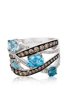 Le Vian® Blue Topaz Ring with Chocolate Diamonds® and Vanilla Diamonds™ - Belk Exclusive