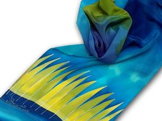 Blue silk scarf with green grasses. Electric green, blue. Hand painted by SilkAgathe.