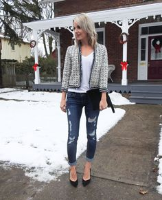 Date night style, fall/winter outfit, tweed pearl jacket, white tee, distressed jeans, black suede pumps, velvet clutch, tiaras and heels blog