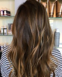 Golden Balayage with lots of dimension on this beautiful brunette. www.catherinechishtihair.com