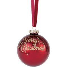 Red Glass Merry Christmas Tree Bauble