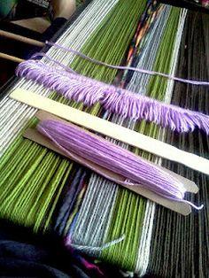 Backstrap loom setup.