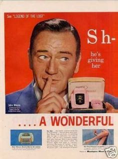 Remington Shaver 2 Page Ad John Wayne (1957)