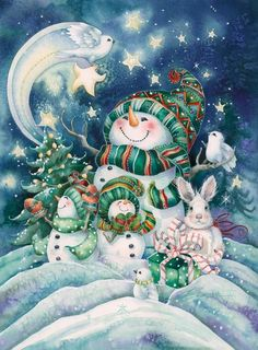 Bergsma Gallery Press :: Products :: Holiday - Occasions :: Christmas :: Christmas Prints :: Everything Comes Alive with the Joy of Christmas - Prints Christmas Scenes, Christmas Pictures, Christmas Snowman, Winter Christmas, Christmas Crafts, Merry Christmas, Family Christmas, Christmas Clipart, Vintage Christmas Cards