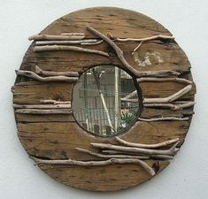 Driftwood Mirror (mirrors are a great idea in the garden, reflect color, light, movement and brighten a dark corner in a jiffy) Driftwood Furniture, Driftwood Mirror, Driftwood Projects, Driftwood Fish, Driftwood Ideas, Driftwood Sculpture, Rustic Furniture, Reclaimed Wood Mirror, Tv Stand With Storage