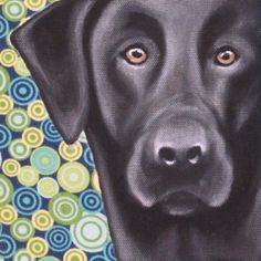 Black Lab Dog Painting by DawgOnIt on Etsy, $30.00