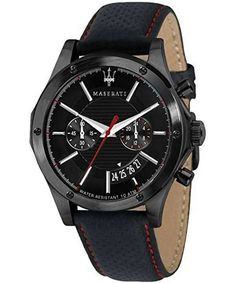Features: Stainless Steel Case Leather Strap Quartz Movement Mineral Crystal Black Dial Analog Display Chronograph Function Date Display 12/24 Hours Display Screwed Case Back Buckle Clasp 100M Water Resistance Approximate Case Diameter: 44mm
