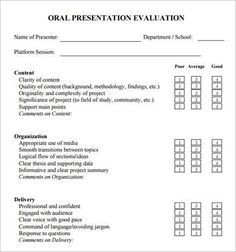Formal Presentation Evaluation Form  Presentation Evaluation Form