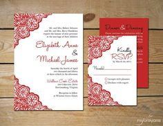 By popular demand, the Rustic Lace wedding invitation set is now available in a 5 x 7 format as well! Shown here in red and black, the