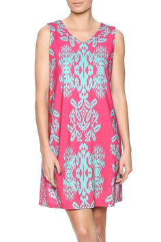 """Pretty In Pink printed sleeveless dress with contrasting mint detail.    Approx. Measures: 35.50"""" long from shoulder to bottom hem.   Pretty In Pink Dress by Aryeh. Clothing - Dresses - Printed Clothing - Dresses - Casual Texas"""
