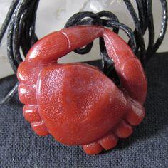 """Red Crab Pendant . Cornelian Crab Pendant 1.14"""". Stone-carving miniature Crab"""