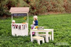 Ruffles & Robots Children's Designs  Hot Cocoa Stand - $149.00 & Toddler Farm Table Set - $199.00  Photography by Ashley Lucas Photography