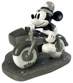 "WDCC Disney Classics The Dog Napper Mickey Mouse On Patrol #WDCCDisneyClassics #Art. Based on the ""Dognapper"" (1934), On Patrol joins a growing selection of black and white sculptures based on the earliest Mickey cartoons."