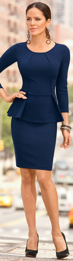 Office look ~ Peplum navy chic dress