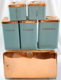 Lincoln Beautyware Kitchen Canister Set 6  I have some all copper ones, round & rectangular.