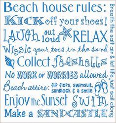 "THE BEACH RULES - Beach Life Quotes 100% Cotton Flour Sack Dish Towel / Tea Towel, 26"" x 26"""