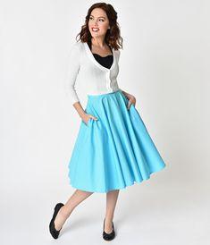 7fd8a4a3b9fe UNIQUE VINTAGE 1950s Style Turquoise Blue Cotton Swing Skirt – Unique  Vintage Waist Skirt, Midi