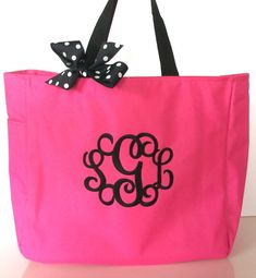 Monogrammed Tote Bag Bridesmaid gift Beach bag 20 by maryandlucy