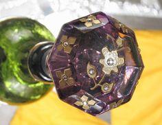 Steampunk Amethyst Glass Door Knob Bottle Stopper Topper ROSE OF SHARON Wedding for Wine & Absinthe