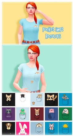 Pets Pocket Shirt Recolors by saartje77 via tumblr | Kids Clothes - Top | BGC |Sims 4 | TS4 | Maxis Match | MM | CC | Pin by sueladysims