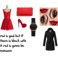 """red and black"" by jessicadawson8 on Polyvore"