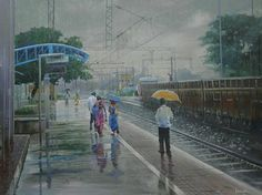 Painting by Bijay Biswaal Indian Railway Train, Train Sketch, Indian Artwork, Photo Editor Free, Scenery Paintings, Rain Painting, Indian Artist, Watercolor Artwork, Photo Effects