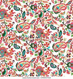 Kalamkari Designs, Beautiful Flower Drawings, Greek Pattern, Paisley Art, Textile Pattern Design, Botanical Flowers, Textile Prints, Digital Pattern, Fabric Decor