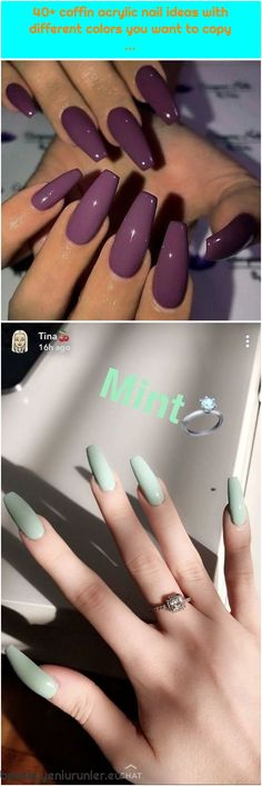 Purple plum on long coffin nails Image and nail design by GC fiti. … Purple plum on long - Coffin Acrylics, Pink Acrylic Nails, Coffin Nails Long, Plum Purple, Used Iphone, Gorgeous Nails, Gel Polish, Different Colors, Nail Designs