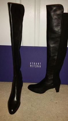 Stuart Weitzman 5050  OTK Boots Mid- Black Nappa Leather US 8.5 $635  NIB!!!!  #StuartWeitzman #FashionOvertheKnee