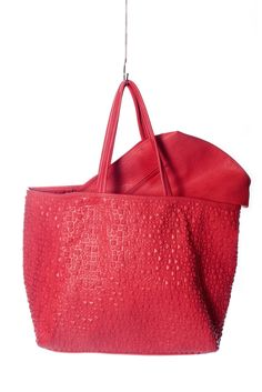Studded Imprint tote available now: http://www.milanandoz.com/collections/baggage/products/4 #red