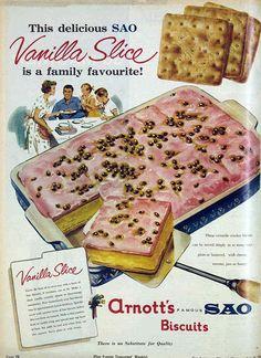 Vivat Vintage — Arnott's SAO biscuits, 1963 Retro Recipes, Old Recipes, Vintage Recipes, Cooking Recipes, Arnotts Biscuits, Gross Food, Aussie Food, Australian Vintage, Ice Cream Candy